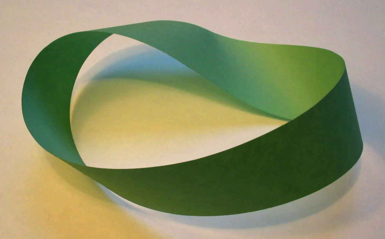 """""""Möbius strip"""" autorstwa David Benbennick - Praca własna. Licencja CC BY-SA 3.0 na podstawie Wikimedia Commons - https://commons.wikimedia.org/wiki/File:M%C3%B6bius_strip.jpg#/media/File:M%C3%B6bius_strip.jpg"""